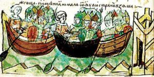 Поход князя Игоря на Константинополь в 941 г. Миниатюра из Радзивилловской летописи