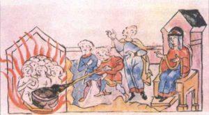 Вторая месть Ольги древлянам. Миниатюра из Радзивилловской летописи.