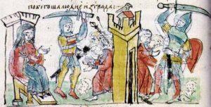 Четвёртая месть Ольги древлянам. Миниатюра из Радзивилловской летописи.