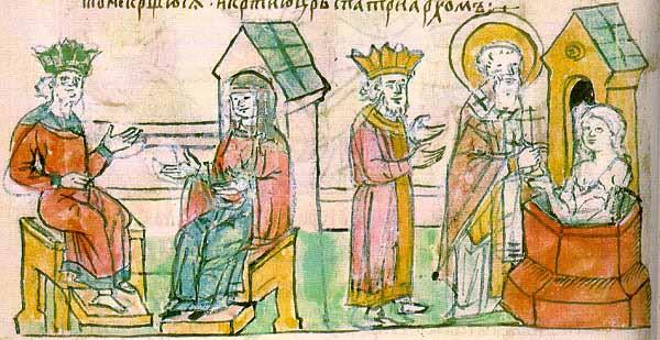Крещение Ольги в Царьграде. Миниатюра из Радзивилловской летописи.