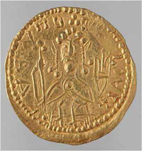 Златник Владимира с его изображением и княжеским знаком - Трезубцем.