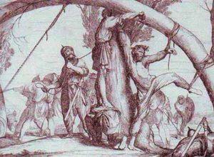 Казнь князя Игоря древлянами. Рисунок Ф. Бруни