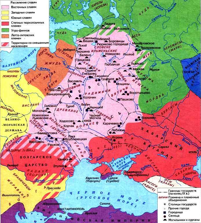 Карта расселения восточных славян. VII-IX вв.