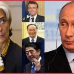 Путин, Макрон, Цишань и Абэ на пленарном заседании ПМЭФ. 25.05.2018.