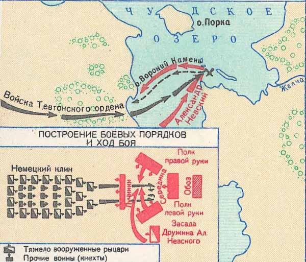 Схема построения войск в битве на Чудском озере