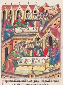 Юрий женит сыновей Мстислава и Владимира (Лицевой летописный свод)