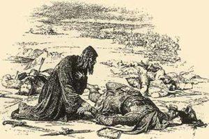 Верещагин В. П. Епископ Кирилл находит обезглавленное тело великого князя Юрия на поле сражения на реке Сить
