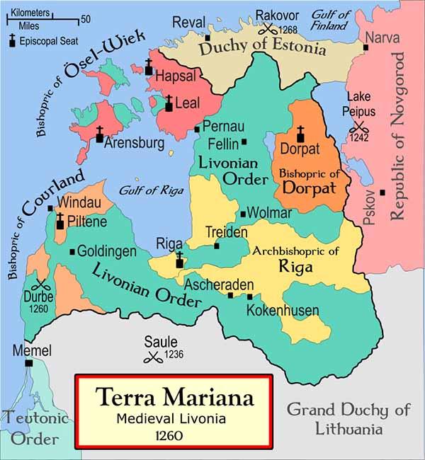 Terra Mariana в 1260 году