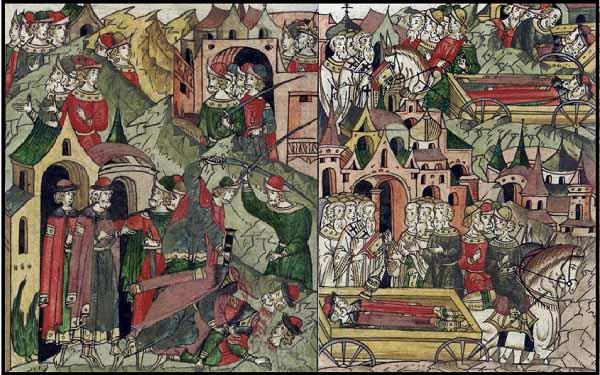 Убийство Александра Михайловича и сына его Федора в Орде, и перевозка их тел. Миниатюра Лицевого летописного свода