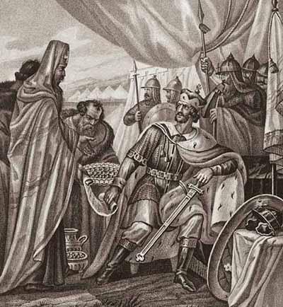 Архиепископ Климент склоняет великого князя Дмитрия Александровича к миру с новгородцами. 1280 г.