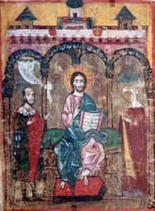 Михаил Ярославич и его мать Ксения предстоят перед Христом.Тверская миниатюра начала XIV века