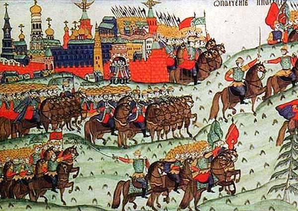 Куликовская битва. Ополчение великого князя Дмитрия Ивановича в 1380 г. Лубок XVII в.