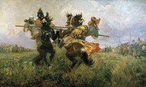 Поединок Пересвета с Челубеем на Куликовом поле Михаил Иванович Авилов 1943г