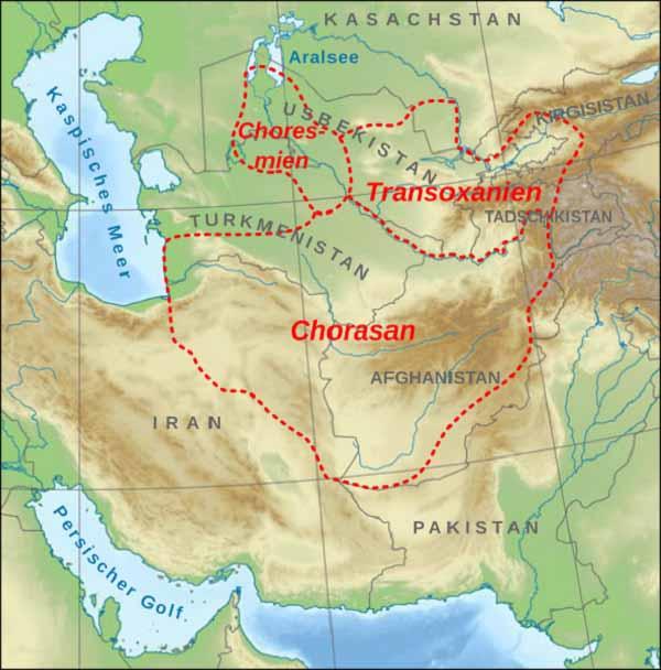 Мавераннахр (Transoxiana), Великий Хорасан (Chorasа) на юге, Хорезм (Choresmien) на западе.