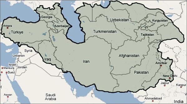 Современные территории, входившие в состав империи Тамерлана