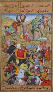 Тамерлан побеждает султана Дели Насир ад-Дина Махмуда, зимой 1397-1398, живопись 1595-1600 гг