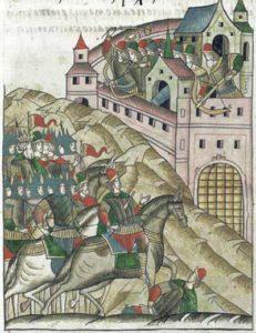 Осада Москвы Тохтамышем в 1382 г. Миниатюра Лицевого летописного свода. XVI в.