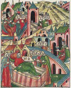 Рождение у княгини Евдокии Дмитриевны дочери Анны. Миниатюра из Лицевого летописного свода. XVI век