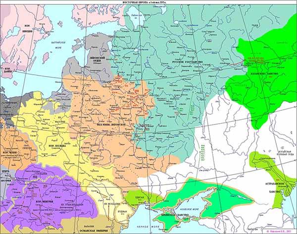 Политическая карта Восточной Европы на момент смерти Ивана III в 1505 году