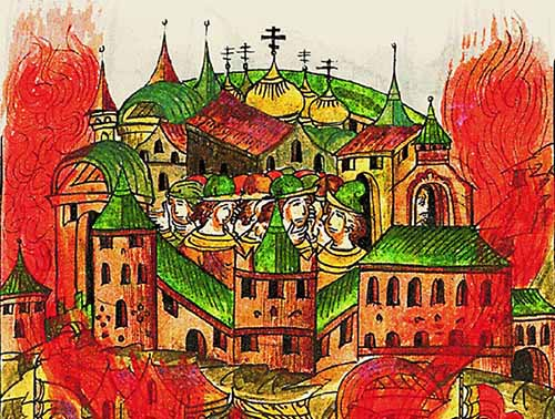 Сожжение московского посада для защиты городских стен