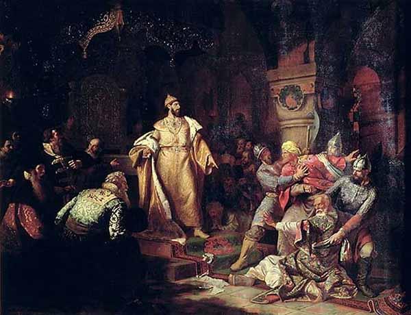 Иван III свергает татарское иго, разорвав изображение хана и приказав умертвить послов