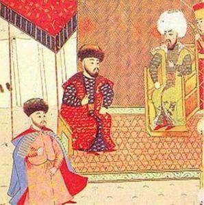 Менгли-Гирей (в центре) со своим сыном и наследником Мехмедом Гераем и османским султаном Баязидом II. Турецкая миниатюра XVI века