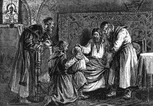 Василий III благословляет перед кончиной сына своего Ивана IV