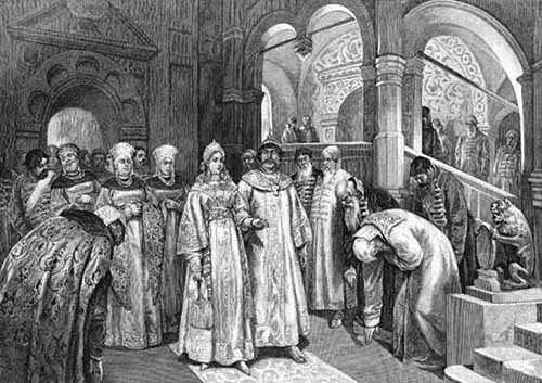 Великий князь Московский Василий III вводит во дворец невесту свою, Елену Глинскую.