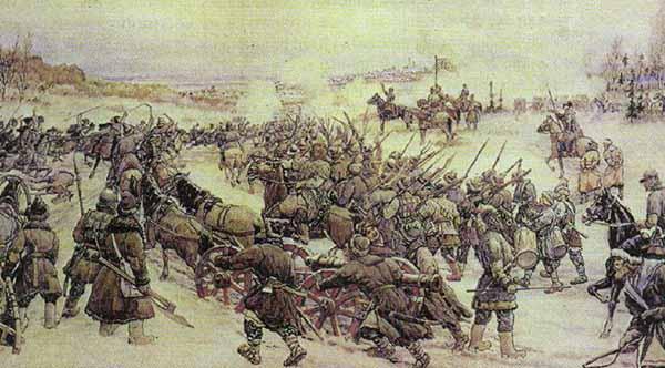 Битва войска Болотникова с царской армией. Эрнест Лисснер.