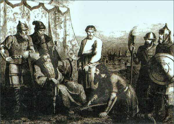 И.И.Болотников является с повинной перед царём Василием Шуйским