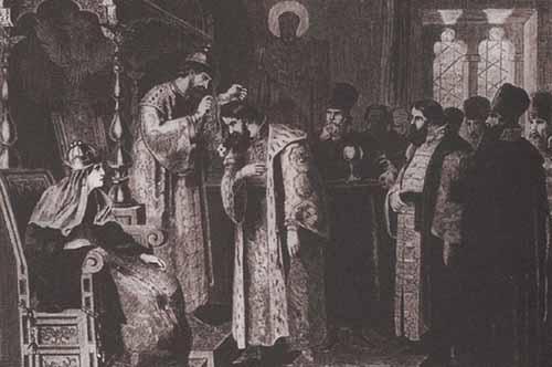 Царь Фёдор Иоаннович надевает на Бориса Годунова золотую цепь А. Кившенко