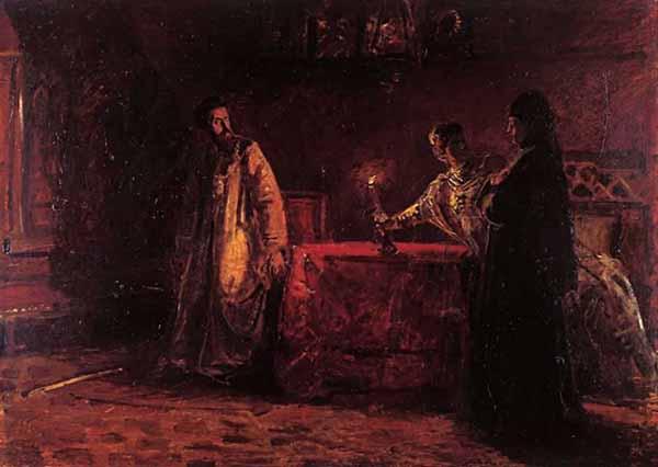 Николай Ге. Борис Годунов и царица Марфа, вызванная в Москву для допроса о царевиче Дмитрии при известии о появлении самозванца