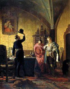 Присяга Лжедмитрия I польскому королю Сигизмунду III на введение в России католицизма Н. Неврев 1874