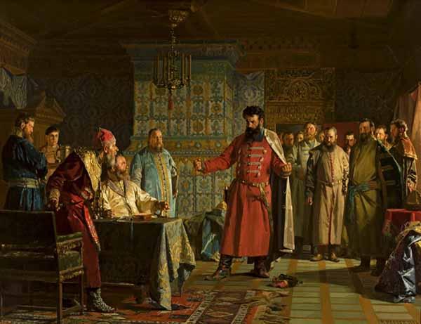 Захар Ляпунов во главе бояр предлагает Василию Шуйскому оставить престол. Н. Неврев. 1886