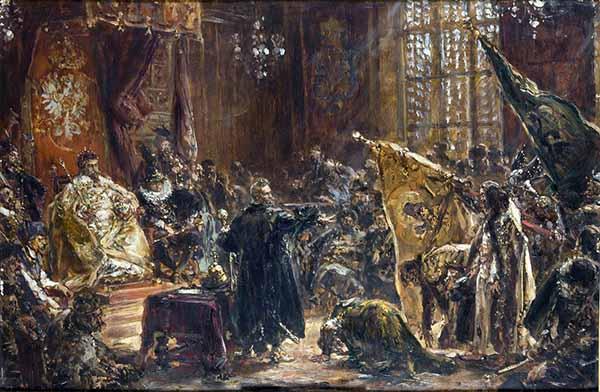 Станислав Жолкевский показывает пленного царя и его братьев на сейме в Варшаве 29 октября 1611 года. Картина Яна Матейко.