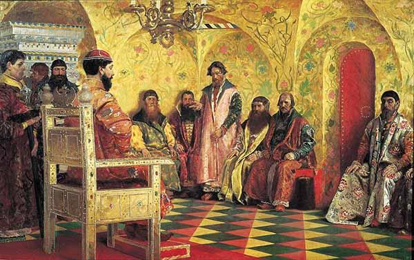 Михаил Фёдорович Романов на собрании боярской думы (Андрей Рябушкин, 1893)