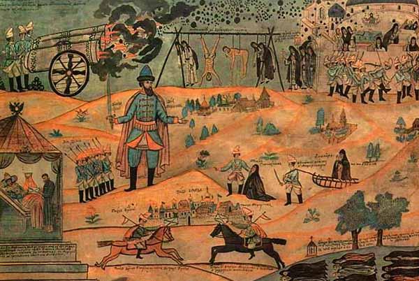 Воевода Мещеринов подавляет Соловецкое восстание.Лубок XIX века