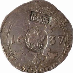Ефимок с признаком (надчеканки 1655 года на брабантском талере 1637 года)