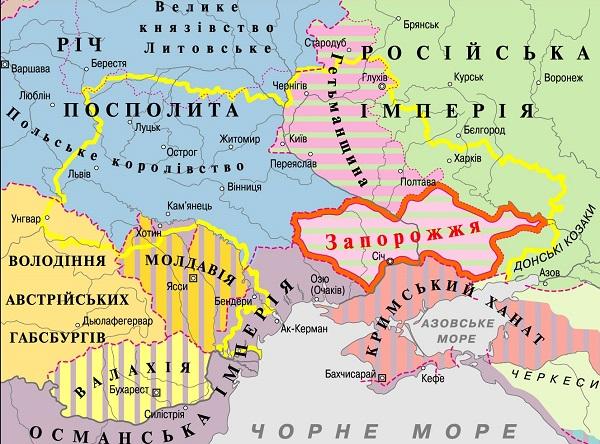 Украинские земли 1750 г.