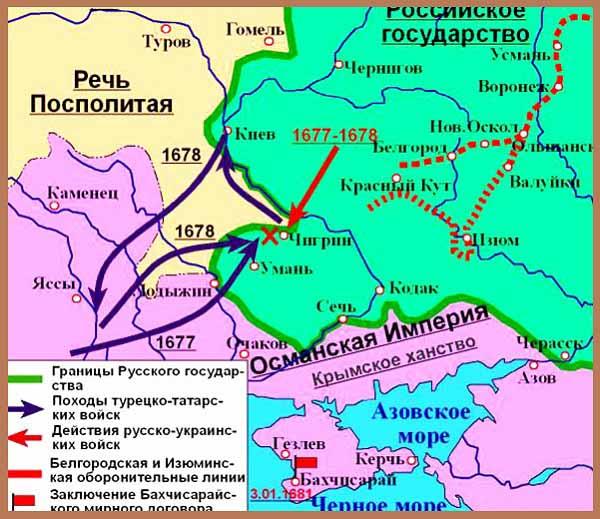 Война 1676 - 1681 гг. между россией и турцией