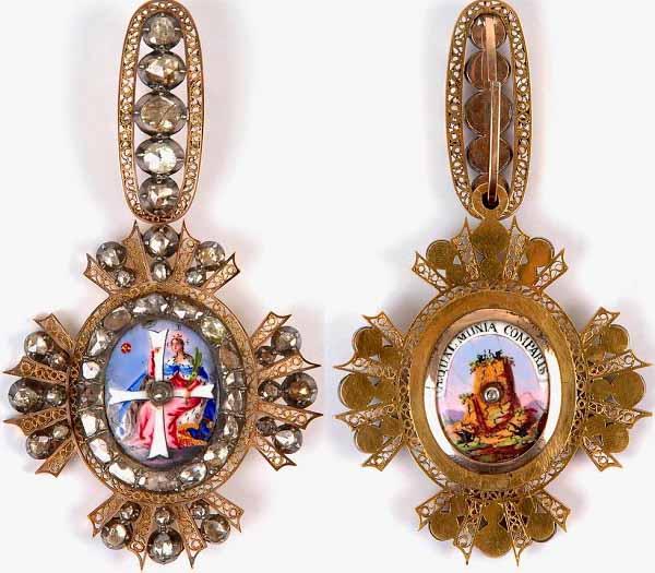 Знак к ордену Святой Екатерины (лицевая и обратная стороны)
