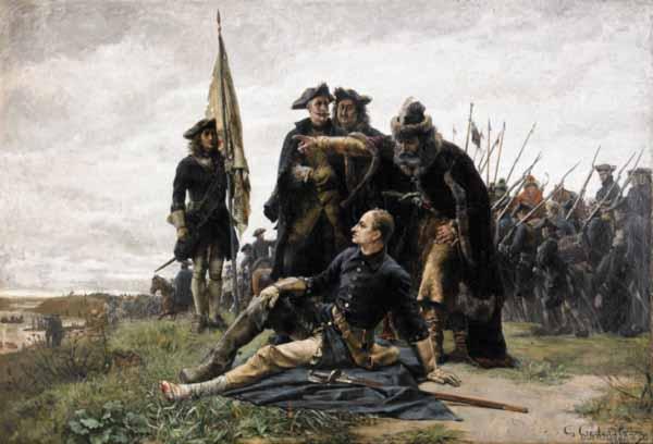 Раненный в ногу шведский король перед Полтавской битвой