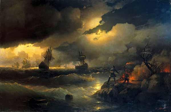 Айвазовский И.К. Пётр I при Красной Горке, зажигающий костёр на берегу для подачи сигнала гибнущим судам своим