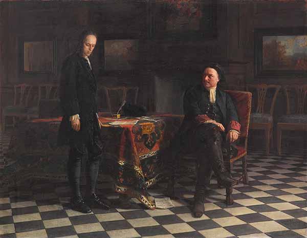 Пётр I допрашивает царевича Алексея. Ге Н. Н., 1871