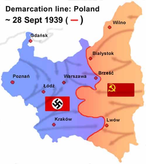 Линия соприкосновения советских и немецких войск на 28 сентября 1939 года