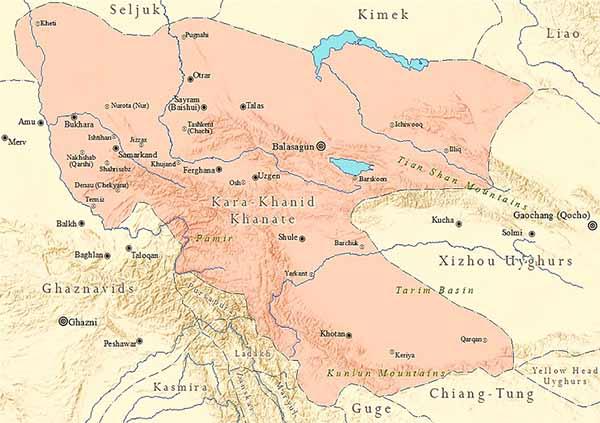 Карта Караханидского государства в границах. Начало XI века