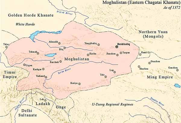 Карта Моголистана (Восточный Чагатай) 1372 год