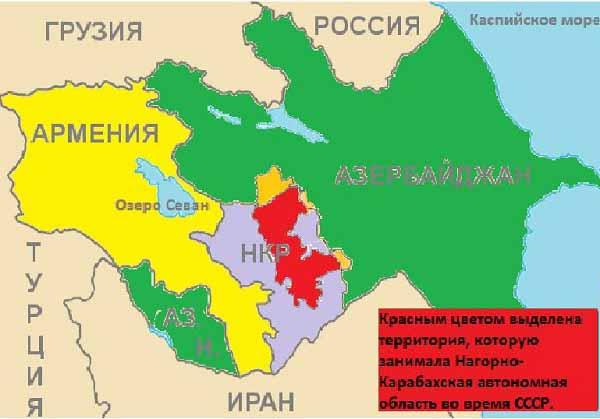 Карта Нагорного Карабаха, Армении, Азербайджана