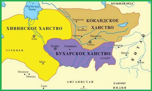 Кокандское, Бухарское и Хивинское ханства