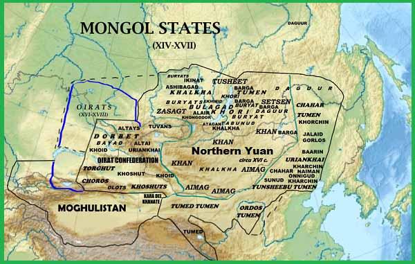 Монгольские государства в 14-17 вв. Монгольский каганат, Ойратское ханство и Моголистан